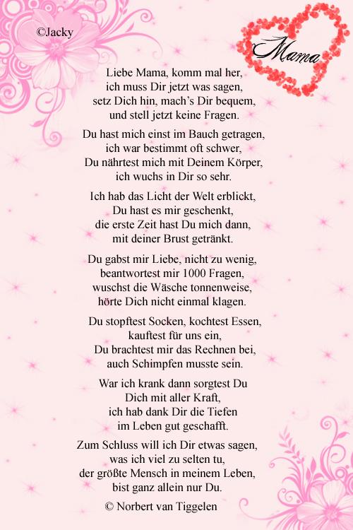 Muttertagssprueche Gedichte Danke Sagen Mama Ausgefallene